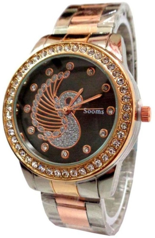 SPINOZA sooms coper and silver metal strap with black swan diamon