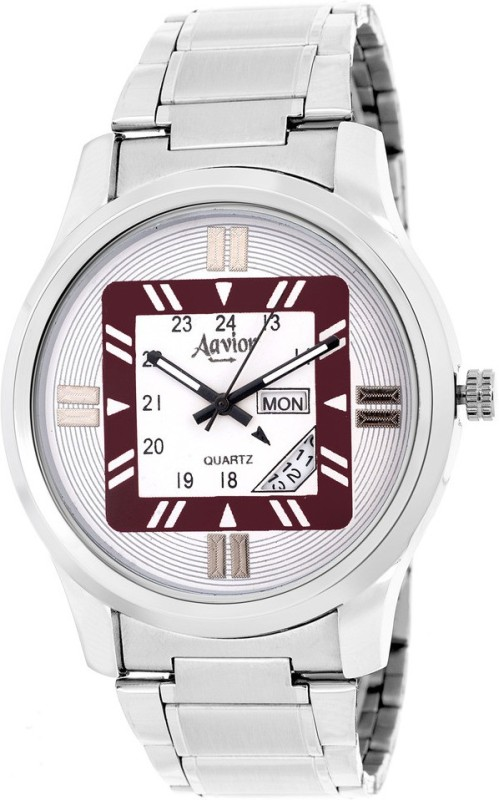 Aavior Fashion White AA204 Day and Date Analog Watch For Men