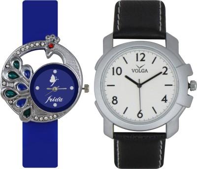 Frida Designer VOLGA Beautiful New Branded Type Watches Men and Women Combo43 VOLGA Band Analog Watch  - For Couple