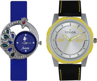 VOLGA Designer FVOLGA Beautiful New Branded Type Watches Men and Women Combo45 VOLGA Band Analog Watch  - For Couple