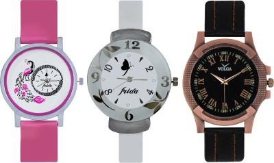 Frida Designer VOLGA Beautiful New Branded Type Watches Men and Women Combo646 VOLGA Band Analog Watch  - For Couple
