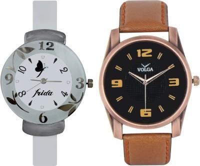 Frida Designer VOLGA Beautiful New Branded Type Watches Men and Women Combo201 VOLGA Band Analog Watch  - For Couple