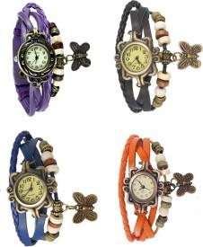 Omen Vintage Rakhi Combo of 4 Purple, Blue, Black And Orange Analog Watch - For Women