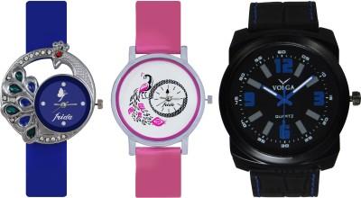 Frida Designer VOLGA Beautiful New Branded Type Watches Men and Women Combo433 VOLGA Band Analog Watch  - For Couple