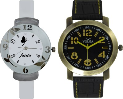 Frida Designer VOLGA Beautiful New Branded Type Watches Men and Women Combo212 VOLGA Band Analog Watch  - For Couple