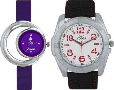 Frida Designer VOLGA Beautiful New Branded Type Watches Men and Women Combo134 VOLGA Band Analog Watch  - For Couple