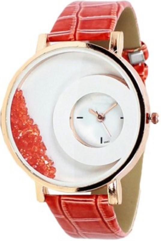 TOREK Orange Diamond Studded Analog Watch For Women