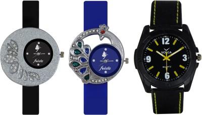 Frida Designer VOLGA Beautiful New Branded Type Watches Men and Women Combo233 VOLGA Band Analog Watch  - For Couple