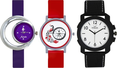 Frida Designer VOLGA Beautiful New Branded Type Watches Men and Women Combo673 VOLGA Band Analog Watch  - For Couple