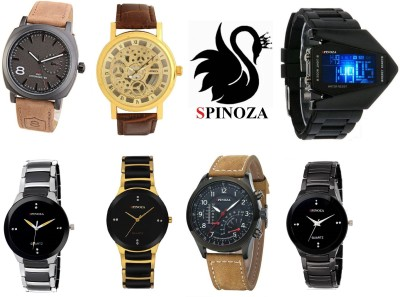ed0369b8e SPINOZA Black professional and digital brown belt stylish trendy Analog  Watch For Men available at Flipkart