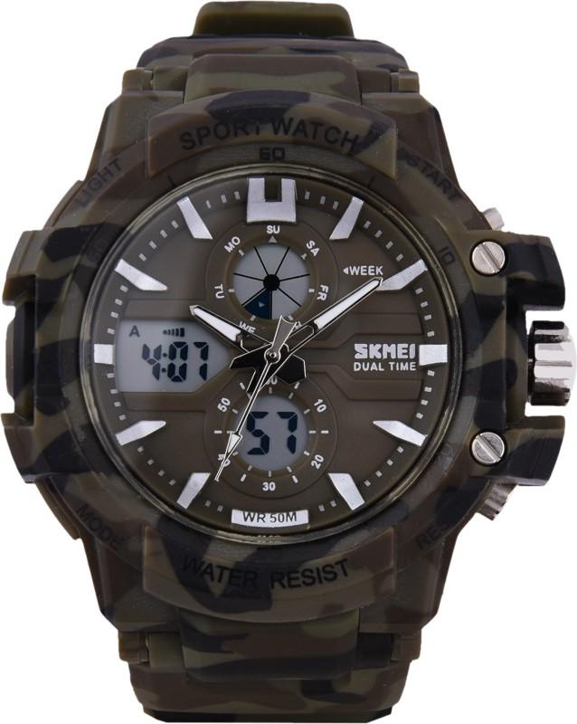 SKMEI FD0990 ARMY DARK GREEN Analog Digital Watch For Men