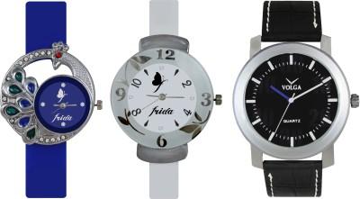 VOLGA Designer FVOLGA Beautiful New Branded Type Watches Men and Women Combo143 VOLGA Band Analog Watch  - For Couple