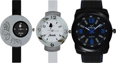 Frida Designer VOLGA Beautiful New Branded Type Watches Men and Women Combo396 VOLGA Band Analog Watch  - For Couple
