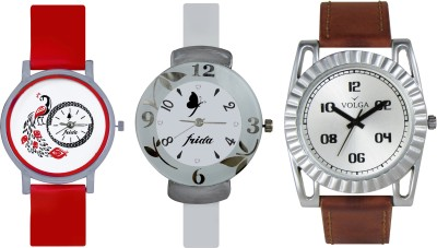 VOLGA Designer FVOLGA Beautiful New Branded Type Watches Men and Women Combo188 VOLGA Band Analog Watch  - For Couple