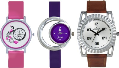 VOLGA Designer FVOLGA Beautiful New Branded Type Watches Men and Women Combo148 VOLGA Band Analog Watch  - For Couple