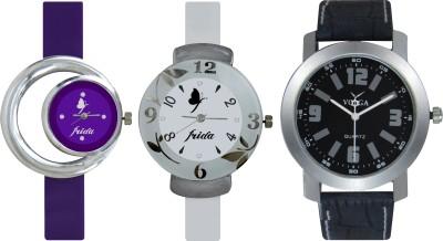 Frida Designer VOLGA Beautiful New Branded Type Watches Men and Women Combo727 VOLGA Band Analog Watch  - For Couple