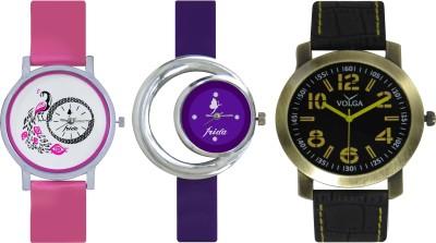 Frida Designer VOLGA Beautiful New Branded Type Watches Men and Women Combo582 VOLGA Band Analog Watch  - For Couple