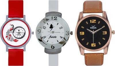 Frida Designer VOLGA Beautiful New Branded Type Watches Men and Women Combo756 VOLGA Band Analog Watch  - For Couple