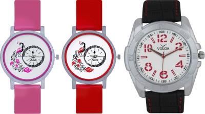 Frida Designer VOLGA Beautiful New Branded Type Watches Men and Women Combo615 VOLGA Band Analog Watch  - For Couple