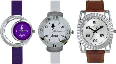 VOLGA Designer FVOLGA Beautiful New Branded Type Watches Men and Women Combo180 VOLGA Band Analog Watch  - For Couple
