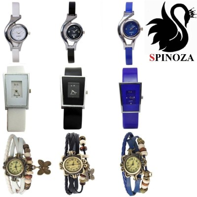 SPINOZA glory round suare and vintage watches in bue black and white colors set of 9 Analog Watch  - For Women