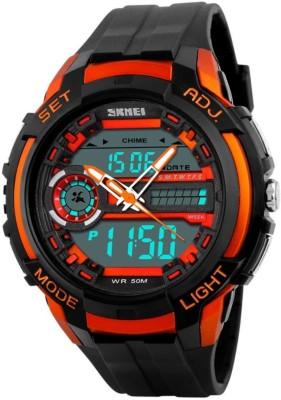 Skmei Gmarks-2021-Orange Sports Analog-Digital Watch - For Men & Women