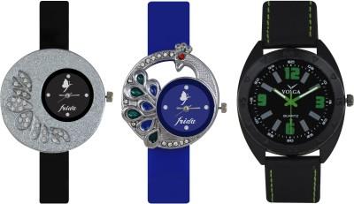 Frida Designer VOLGA Beautiful New Branded Type Watches Men and Women Combo234 VOLGA Band Analog Watch  - For Couple