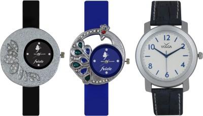 Frida Designer VOLGA Beautiful New Branded Type Watches Men and Women Combo227 VOLGA Band Analog Watch  - For Couple