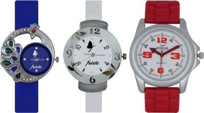 Frida Designer VOLGA Beautiful New Branded Type Watches Men and Women Combo521 VOLGA Band Analog Watch  - For Couple