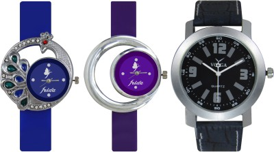 Frida Designer VOLGA Beautiful New Branded Type Watches Men and Women Combo468 VOLGA Band Analog Watch  - For Couple