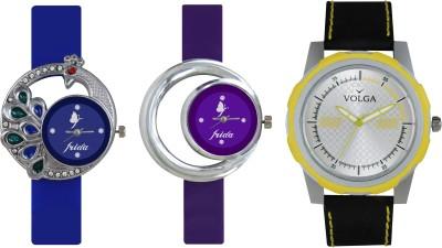 VOLGA Designer FVOLGA Beautiful New Branded Type Watches Men and Women Combo131 VOLGA Band Analog Watch  - For Couple