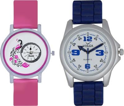 Frida Designer VOLGA Beautiful New Branded Type Watches Men and Women Combo76 VOLGA Band Analog Watch  - For Couple