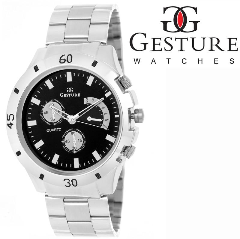 Gesture Rich Black Elegant Analog Watch For Men