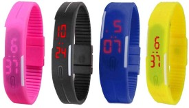 Omen Led Magnet Band Combo of 4 Pink, Black, Blue And Yellow Digital Watch - For Men & Women