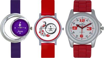 Frida Designer VOLGA Beautiful New Branded Type Watches Men and Women Combo669 VOLGA Band Analog Watch  - For Couple