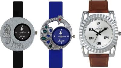 VOLGA Designer FVOLGA Beautiful New Branded Type Watches Men and Women Combo76 VOLGA Band Analog Watch  - For Couple