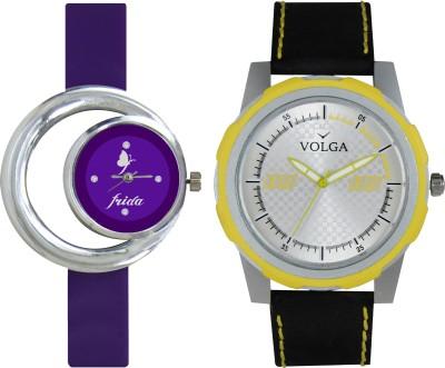 VOLGA Designer FVOLGA Beautiful New Branded Type Watches Men and Women Combo59 VOLGA Band Analog Watch  - For Couple