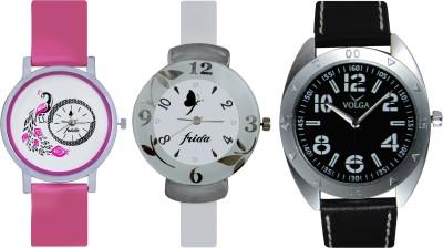 Frida Designer VOLGA Beautiful New Branded Type Watches Men and Women Combo654 VOLGA Band Analog Watch  - For Couple