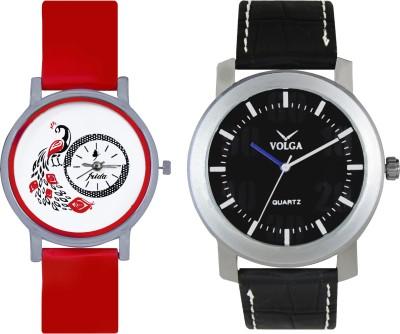 VOLGA Designer FVOLGA Beautiful New Branded Type Watches Men and Women Combo63 VOLGA Band Analog Watch  - For Couple