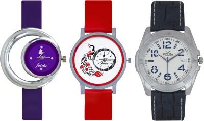 Frida Designer VOLGA Beautiful New Branded Type Watches Men and Women Combo684 VOLGA Band Analog Watch  - For Couple