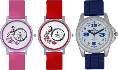 Frida Designer VOLGA Beautiful New Branded Type Watches Men and Women Combo594 VOLGA Band Analog Watch  - For Couple