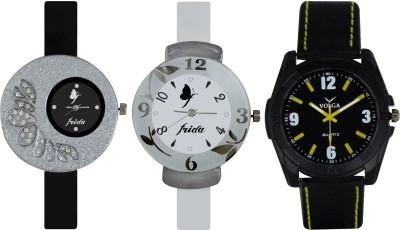 Frida Designer VOLGA Beautiful New Branded Type Watches Men and Women Combo381 VOLGA Band Analog Watch  - For Couple