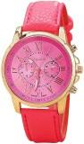 Geneva Quartz Luxury Rose Pink Faux Leat...