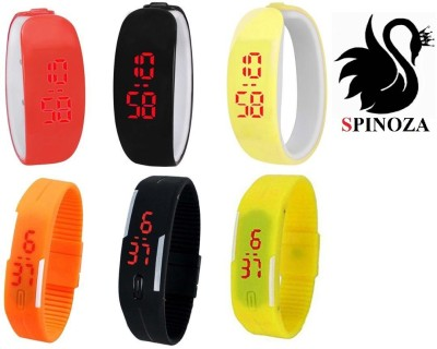 SPINOZA led and digital bracelet watches in orange black yellow color set of 6 Digital Watch  - For Boys