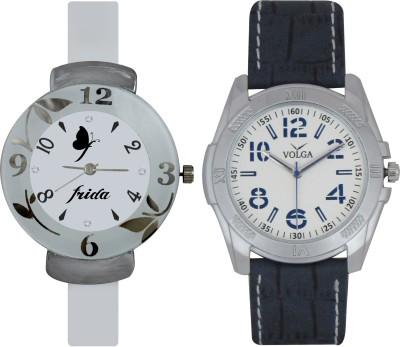 Frida Designer VOLGA Beautiful New Branded Type Watches Men and Women Combo203 VOLGA Band Analog Watch  - For Couple