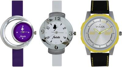 VOLGA Designer FVOLGA Beautiful New Branded Type Watches Men and Women Combo187 VOLGA Band Analog Watch  - For Couple