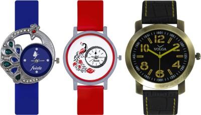 Frida Designer VOLGA Beautiful New Branded Type Watches Men and Women Combo508 VOLGA Band Analog Watch  - For Couple