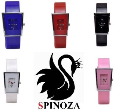 SPINOZA Glory square multi color stylish simple pack of 5 watches Analog Watch  - For Women