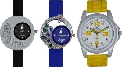 Frida Designer VOLGA Beautiful New Branded Type Watches Men and Women Combo226 VOLGA Band Analog Watch  - For Couple