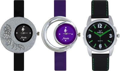 Frida Designer VOLGA Beautiful New Branded Type Watches Men and Women Combo316 VOLGA Band Analog Watch  - For Couple